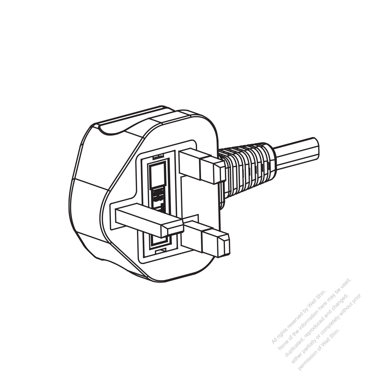 uk 3-pin ac plug  6a 250v