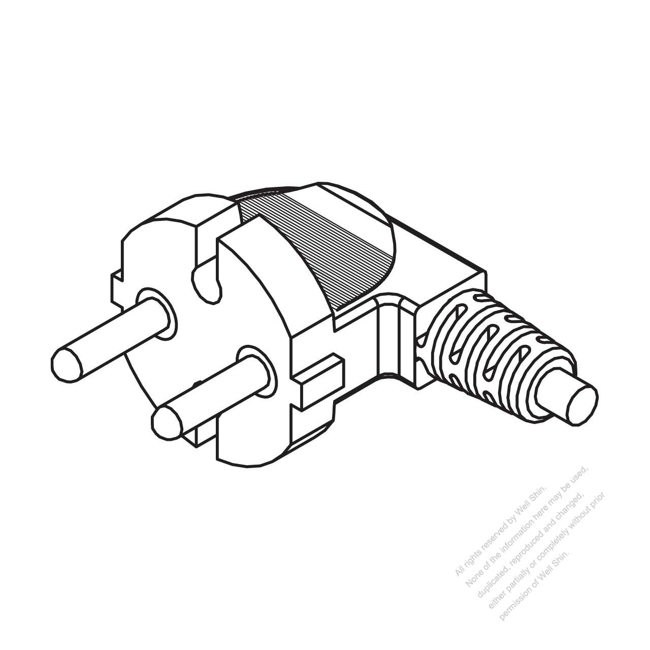switzerland 2-pin elbow ac plug  16a 250v
