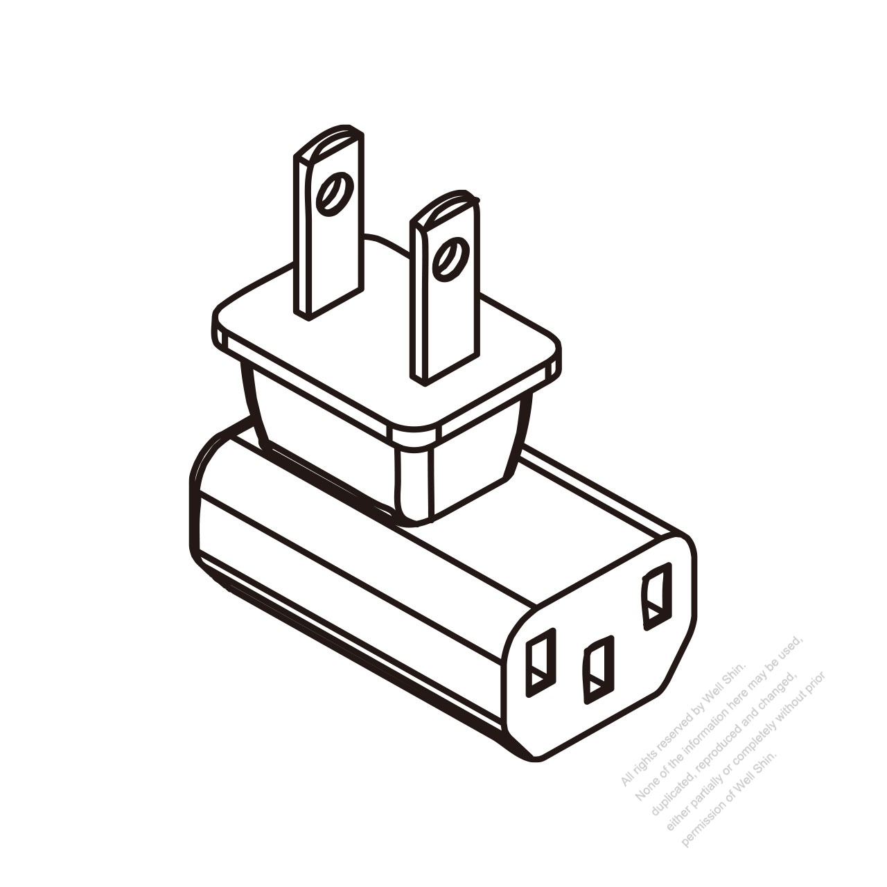 adapter plug  japanese angle type to iec 320 c13 female connector 3 to 3-pin 10a 125v