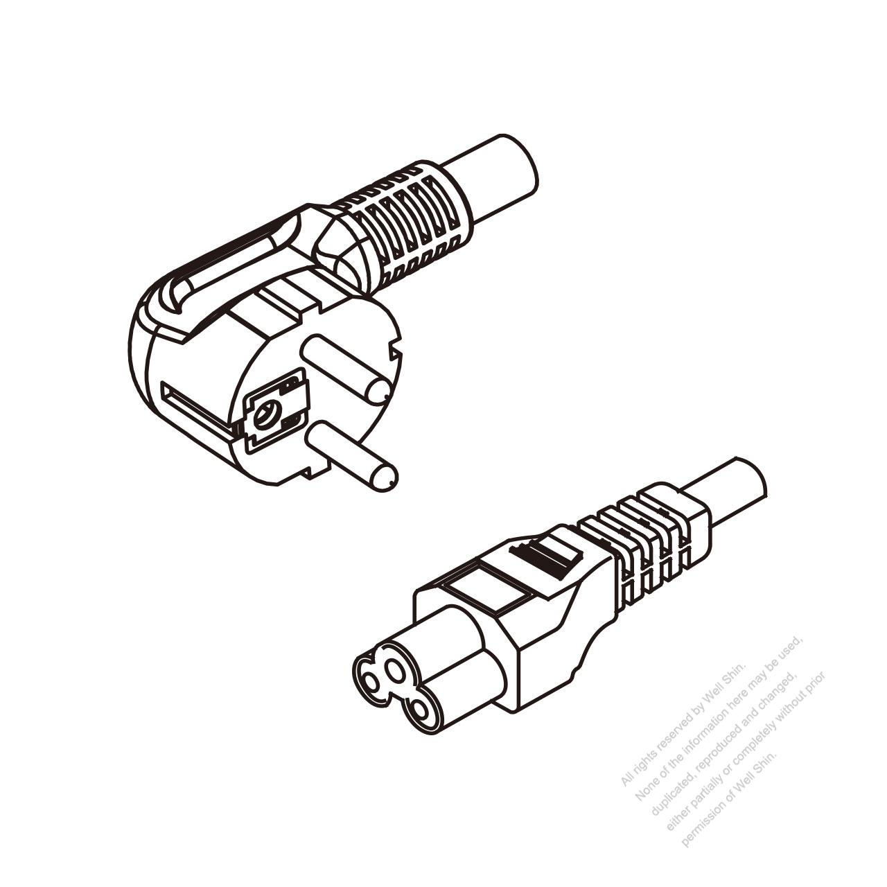 Europe 3 Pin Angle Plug To Iec 320 C5 Ac Power Cord Set