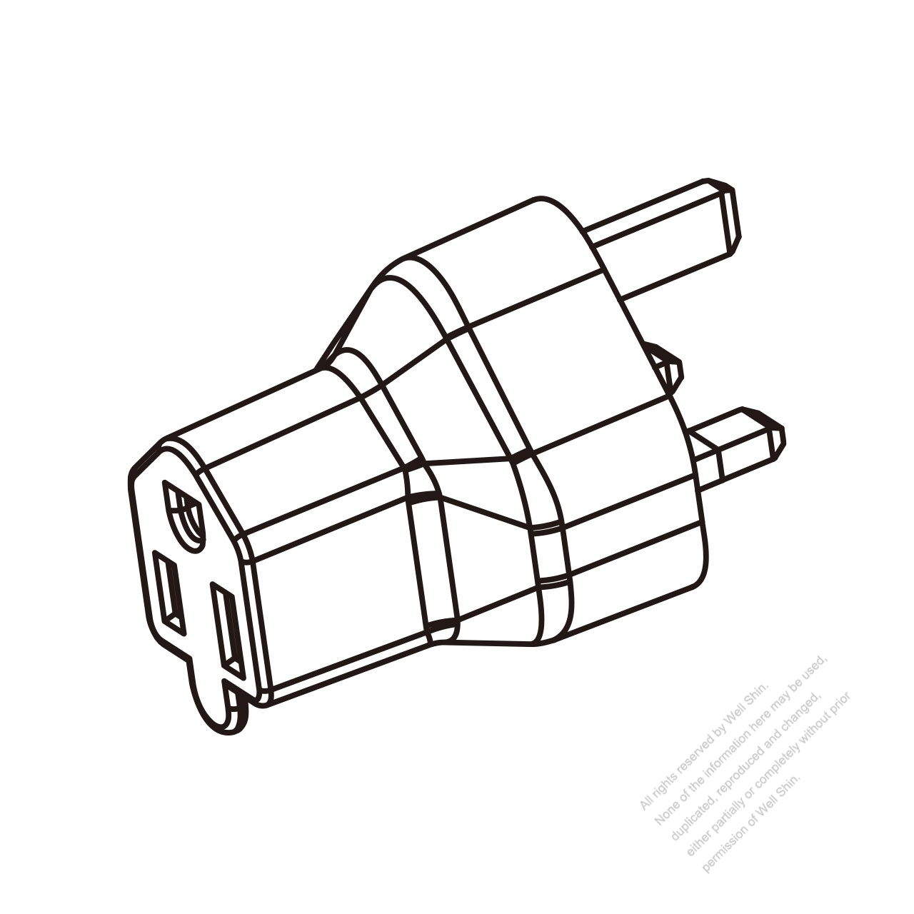 adapter plug  uk plug to nema 5-15r connector  3 to 3-pin 10a 250v