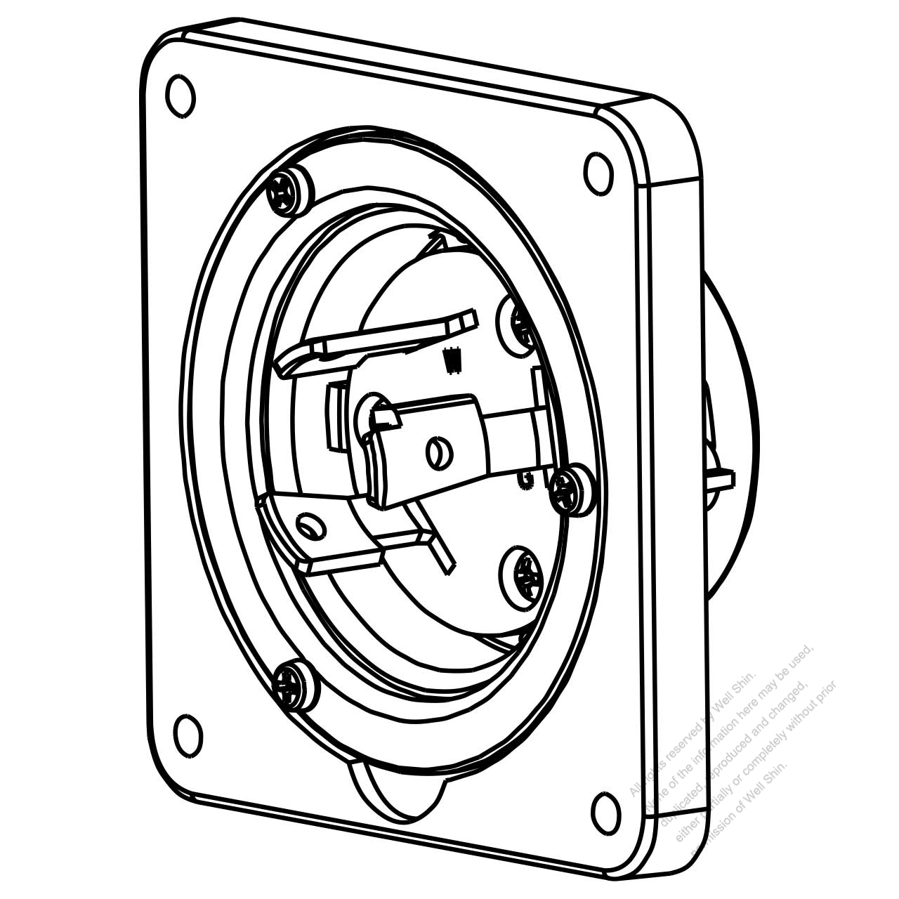 usa  canada locking flanged inlet nema l6