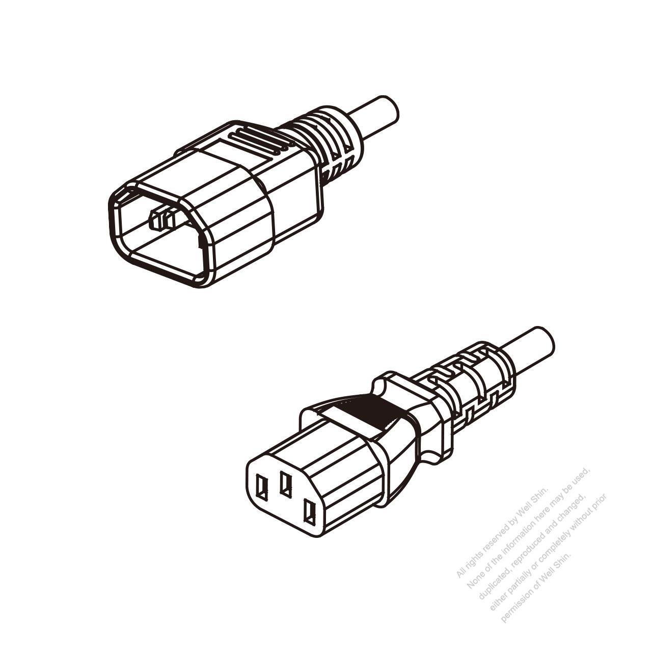 Australia 3 Pin Iec 320 Sheet E Plug To C13 Ac Power Cord Wiring