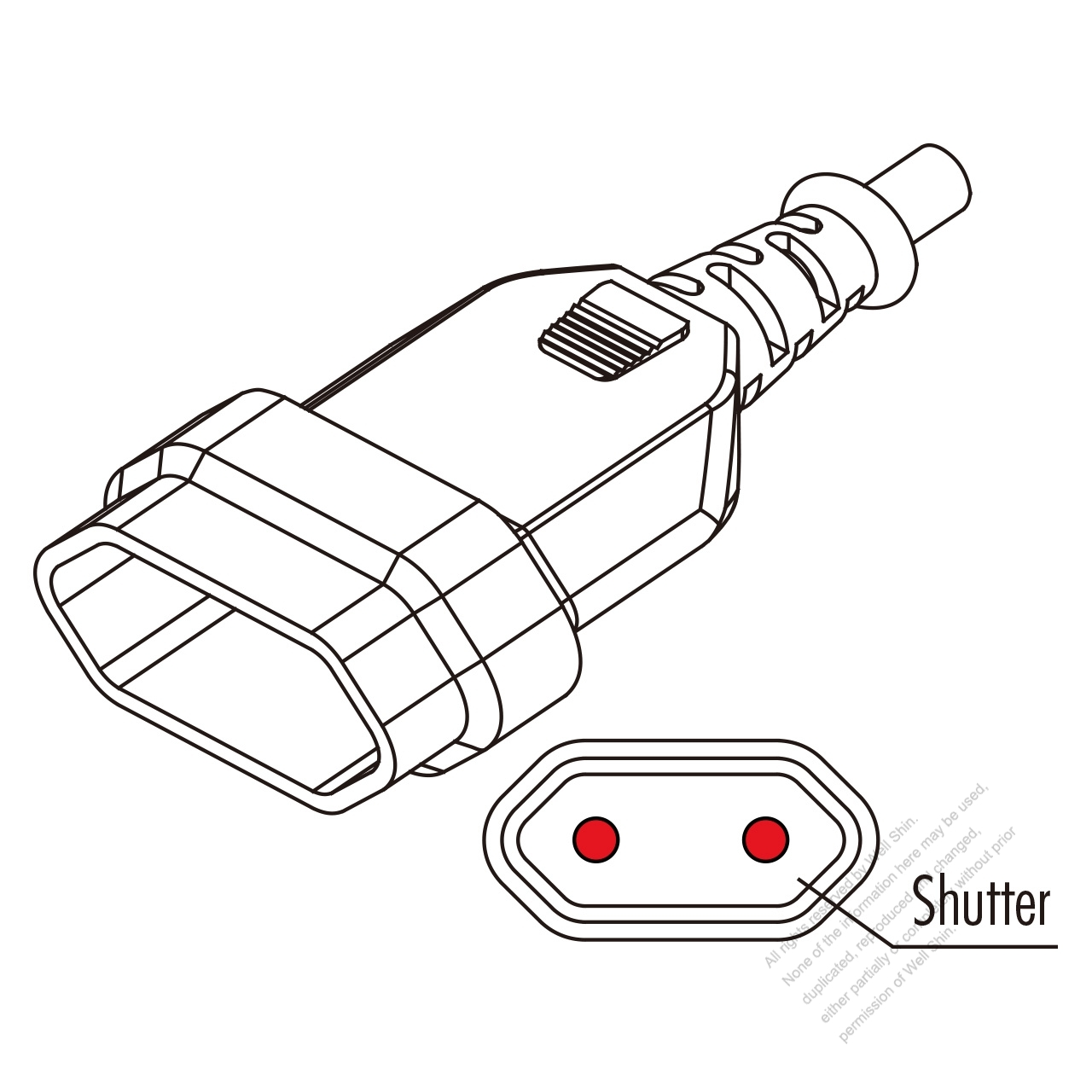 europe ac connector 2-pin 2 5a 250v
