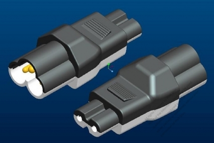 Adapter, IEC 320 C7 2 -Pin connector to Mickey mouse (Sheet A) plug 2.5A/125V (No voltage conversion function)