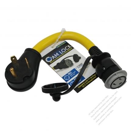 USA 3Pin Converts RV NEMA TT-30 Plug to NEMA 5-15R 15A Cam Lock connector, Yellow 1 FT (0.3M)