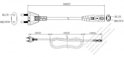 Korea 2-Pin Plug To IEC 320 C7 AC Power Cord Set Molding (PVC) 1.8M (1800mm) Black ( H03VVH2-F 2X 0.75mm² )