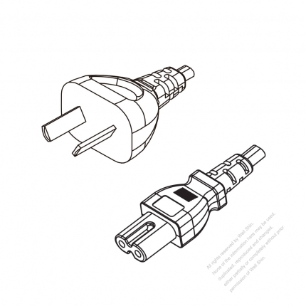Argentina 2 Pin Plug To Iec 320 C7 Power Cord Set Hf
