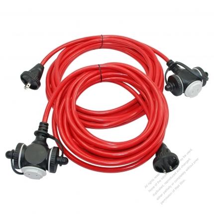 USA 2 Pin Locking Cord NEMA 1-15P Plug /1-15R Receptacle x 3(1.25MMSQ)Red 25 or 50 FT (7.62 or 15.24M)