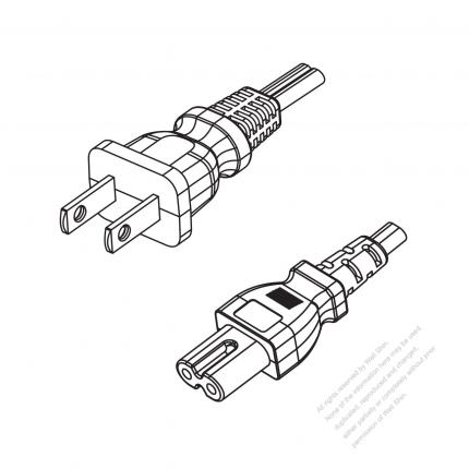 US/Canada 2-Pin NEMA 1-15P Plug to IEC 320 C7 Power Cord Set (PVC) 1 M (1000mm) Black  (NISPT-2 18/2C/60C )