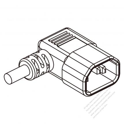 Russia Iec 320 Sheet E C14 Plug Connectors 3 Pin Angle 10a 250v