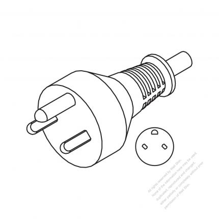 Denmark 3 Pin Straight Ac Plug 1016a 250v