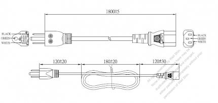 US/Canada 3-Pin NEMA 5-15P Plug To IEC 320 C13 AC Power Cord Set Molding (PVC) 1.8M (1800mm) Black (SVT 18/3C/105C )
