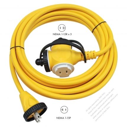 USA 2 Pin Locking Cord NEMA 1-15P Plug /1-15R Receptacle x 3(2.0MMSQ)Yellow 25 or 50 FT (7.62 or 15.24M)