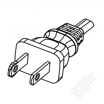 US/Canada 2 Pin NEMA 1-15P Polarized Plug/ Cable End Cut AC Power Cord - Molding PVC 1.8M (1800mm) Black  (NISPT-2 18/2C/60C )