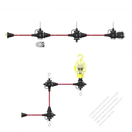 USA 3 Pin Locking Cord NEMA 5-15P Plug /5-15R Receptacle x 3 (2.0MMSQ)Yellow 25 or 50 FT (7.62 or 15.24M)