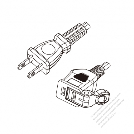 Japan 2 Pin Plug To Easy Pull 2 Pin Connector Power Cord Set Pvc