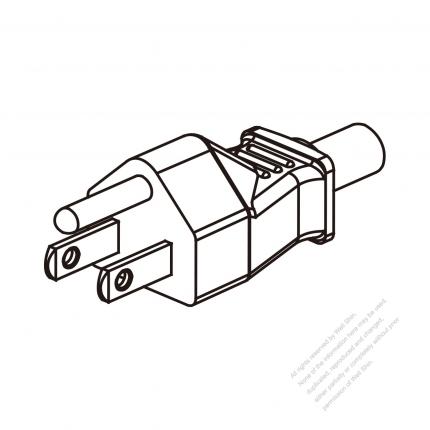 US/Canada 3 Pin NEMA 5-15P Plug/ Cable End Cut AC Power Cord - Molding PVC 1.8M (1800mm) Black  (SJT 18/3C/60C  )