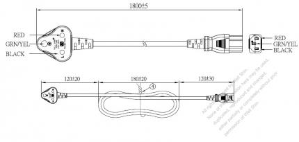 India 3-Pin Angle Type Plug to IEC 320 C13 Power Cord Set (PVC) 1.8M (1800mm) Black  (YY 3G 0.75mm² (ROUND) )