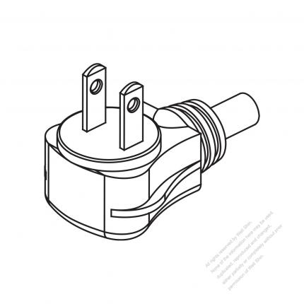 Taiwan Japan 2 Pin 2 Wire Angle Type Ac Plug 2 5a7a9a11a15a
