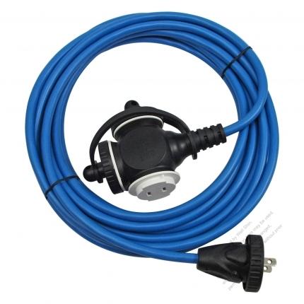 USA 2 Pin Locking Cord NEMA 1-15P Plug /1-15R Receptacle x 3(1.0MMSQ)Blue 25 or 50 FT (7.62 or 15.24M)