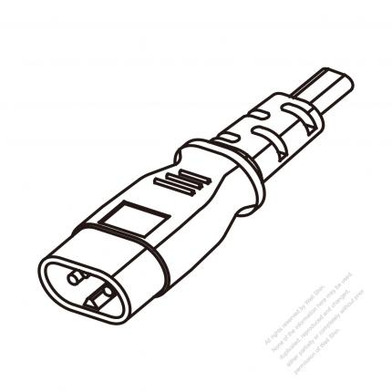 US/Canada 2 Pin IEC Sheet C Plug/ Cable End Cut AC Power Cord - Molding PVC 1.8M (1800mm) Black  (NISPT-2 18/2C/60C )