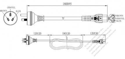 Australia 3-Pin Plug To IEC 320 C5 AC Power Cord Set Molding (PVC) 1.8M (1800mm) Black ( H05VV-F 3G 0.75mm² )