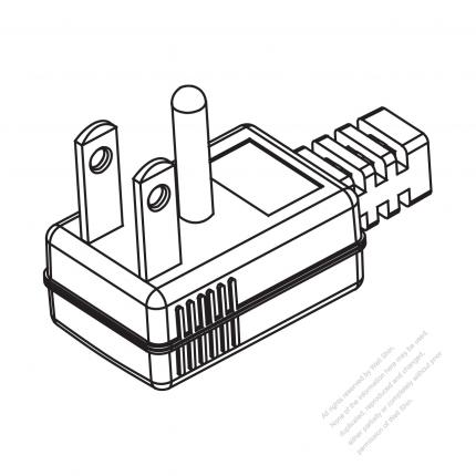 Taiwan Japan 3 Pin Elbow Ac Plug 15a 125v
