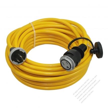 USA 3 Pin Locking Cord NEMA 5-15P Plug /5-15R Receptacle x 3(2.0MMSQ)Yellow/ Red/Blue 25 or 50 FT (7.62 or 15.24M)