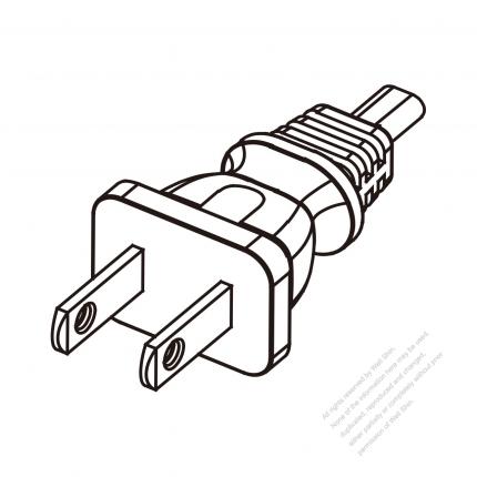 US/Canada 2-Pin NEMA 1-15P Plug/ Cable End Cut AC Power Cord - Molding PVC 1.8M (1800mm) Black  (NISPT-2 18/2C/60C )