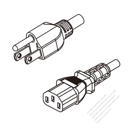 US/Canada 3-Pin NEMA 5-15P Plug To IEC 320 C13 AC Power Cord Set Molding (PVC) 0.8M (800mm) Black (SVT 18/3C/60C )