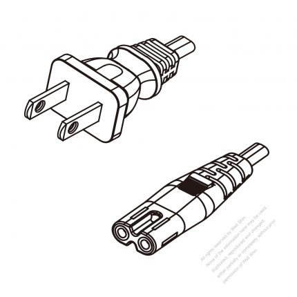 US/Canada 2-Pin NEMA 1-15P Plug To IEC 320 C7 AC Power Cord Set Molding (PVC) 1.8M (1800mm) Black (SPT-2 18/2C/60C )