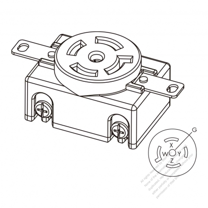 usa  canada locking flanged outlet nema l21