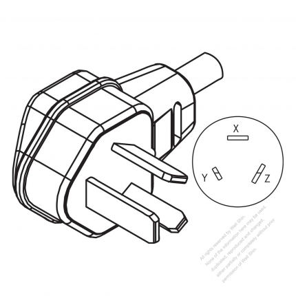3 Wire Non Grounding Elbow Ac Plug