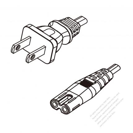 US/Canada 2-Pin NEMA 1-15P Plug To IEC 320 C7 AC Power Cord Set Molding (PVC) 0.8M (800mm) Black (SPT-2 18/2C/60C )