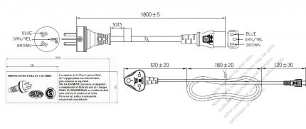 Argentina 3-Pin Plug To IEC 320 C13 AC Power Cord Set Molding (PVC) 1.8M (1800mm) Black ( H05VV-F 3G 0.75mm² )