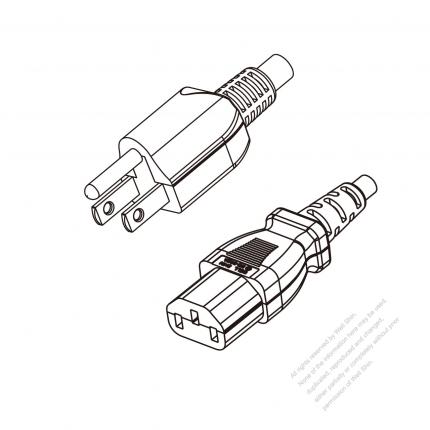 US/Canada 3-Pin NEMA 5-15P Plug to IEC 320 C13 Power Cord Set (PVC) 1 M (1000mm) Black  (SVT 18/3C/105C )