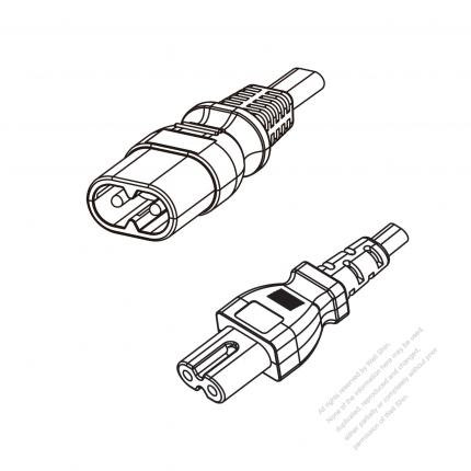 US/Canada 2-Pin IEC 320 Sheet C Plug to IEC 320 C7 Power Cord Set (PVC) 1.8M (1800mm) Black  (SPT-2    18/2C/105C )