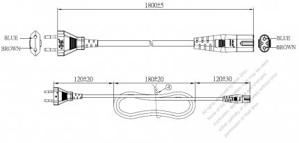 Europe 2-Pin Plug to IEC 320 C7 Power Cord Set (PVC) 1.8M (1800mm) Black  (H03VVH2-F 2X0.75mm²)