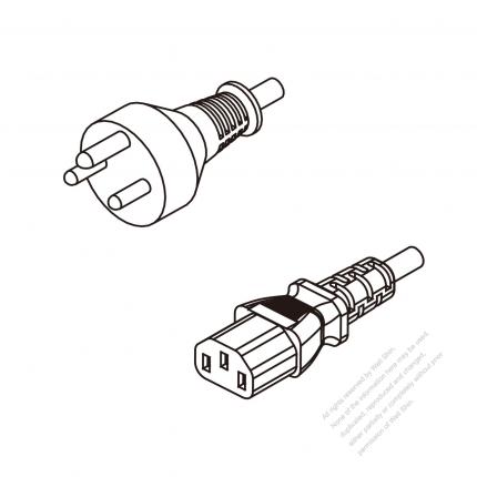 Denmark 3-Pin Plug To IEC 320 C13 AC Power Cord Set Molding (PVC) 1.8M (1800mm) Black ( H05VV-F 3G 0.75mm² )