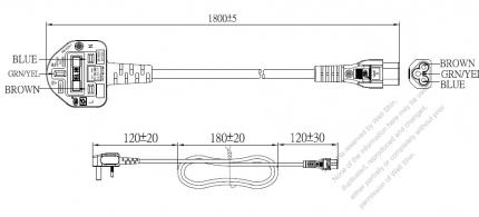 UK 3-Pin Plug To IEC 320 C5 AC Power Cord Set Molding (PVC) 1.8M (1800mm) Black ( H05VV-F 3G 0.75mm² )