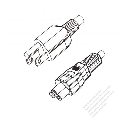US/Canada 3-Pin NEMA 5-15P Plug to IEC 320 C5 Power Cord Set (PVC) 1 M (1000mm) Black  (SVT 18/3C/105C  )