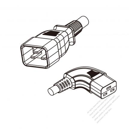 US/Canada 3-Pin IEC 320 Sheet I Plug to IEC 320 C19 Right Angle Power Cord Set (PVC) 1.8M (1800mm) Black  (SJT 16/3C/105C  )