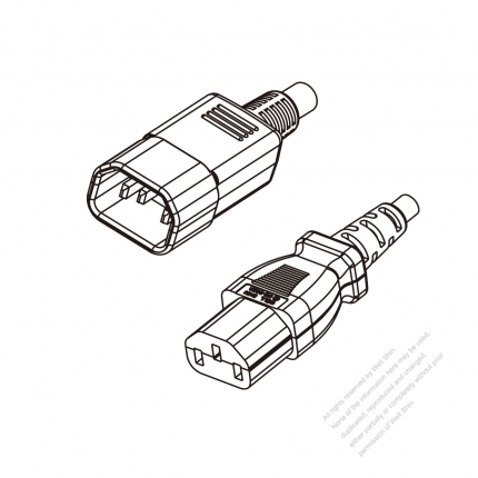 US/Canada 3-Pin IEC 320 Sheet E Plug to IEC 320 C13 Power cord set (HF - Halogen free) 1.8M (1800mm) Black (SVE 18/3C/60C )
