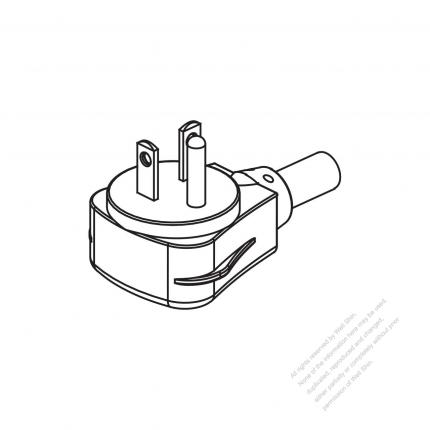 USA/Canada NEMA 5-20P Elbow AC Plug, 2 P/ 3 Wire Grounding 20A 125V ...
