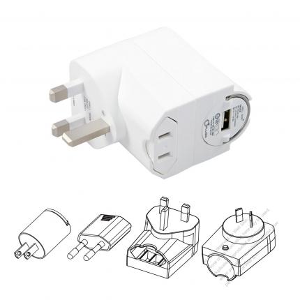 5V/ 1 A US/Europe/UK /Australia + USB Adapter set portable universal USB charger