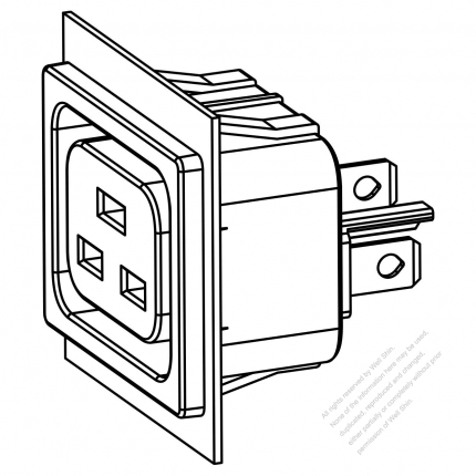 AC Socket IEC 60320-2 Sheet J Appliance Outlet 16A/20A 250V