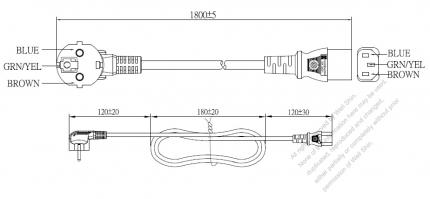 Korea 3-Pin Angle Plug To IEC 320 C13 AC Power Cord Set Molding (PVC) 1.8M (1800mm) Black ( H05VV-F 3G 0.75mm² )