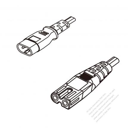 US/Canada 2-Pin IEC 320 Sheet C Plug To IEC 320 C7 AC Power Cord Set Molding (PVC) 1 M (1000mm) Black (NISPT-2 18/2C/60C )