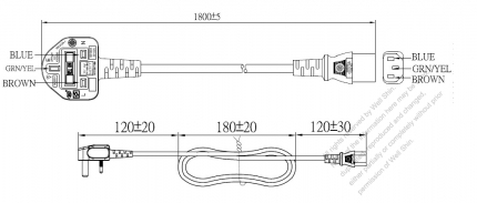 UK 3-Pin Plug To IEC 320 C13 AC Power Cord Set Molding (PVC) 1.8M (1800mm) Black ( H05VV-F 3G 0.75mm² )
